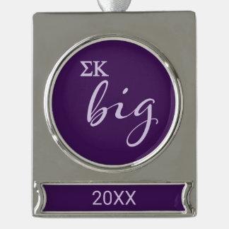 Sigma Kappa Big Script Silver Plated Banner Ornament