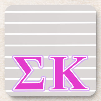 Sigma Kappa Lavender and Pink Letters Beverage Coaster