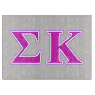 Sigma Kappa Lavender and Pink Letters Cutting Board