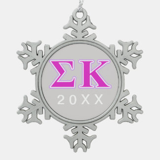 Sigma Kappa Lavender and Pink Letters Pewter Snowflake Decoration