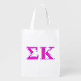 Sigma Kappa Lavender and Pink Letters Reusable Grocery Bag