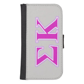 Sigma Kappa Lavender and Pink Letters Samsung S4 Wallet Case