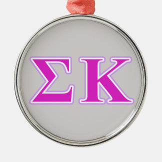 Sigma Kappa Lavender and Pink Letters Silver-Colored Round Decoration