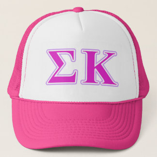 Sigma Kappa Lavender and Pink Letters Trucker Hat