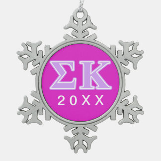 Sigma Kappa Lavender Letters Pewter Snowflake Decoration