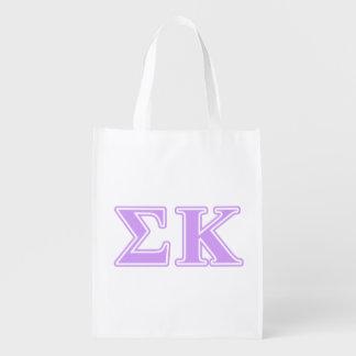 Sigma Kappa Lavender Letters Reusable Grocery Bag