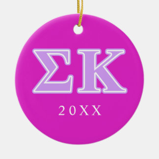 Sigma Kappa Lavender Letters Round Ceramic Decoration