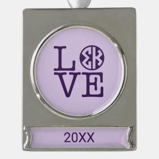 Sigma Kappa Love Silver Plated Banner Ornament