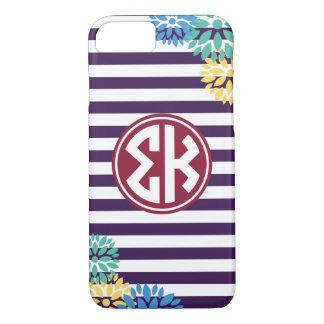 Sigma Kappa   Monogram Stripe Pattern iPhone 8/7 Case