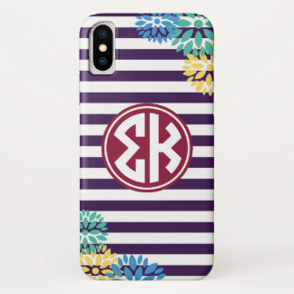 Sigma Kappa | Monogram Stripe Pattern iPhone X Case