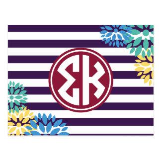 Sigma Kappa   Monogram Stripe Pattern Postcard