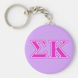 Sigma Kappa Pink Letters Basic Round Button Key Ring