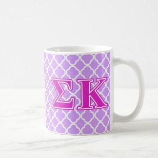 Sigma Kappa Pink Letters Basic White Mug