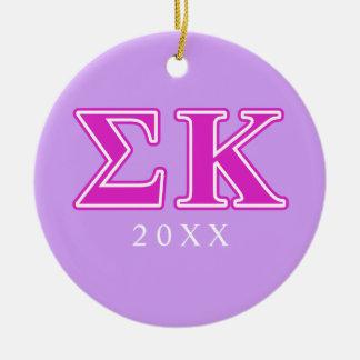Sigma Kappa Pink Letters Christmas Ornament
