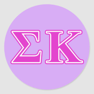 Sigma Kappa Pink Letters Classic Round Sticker