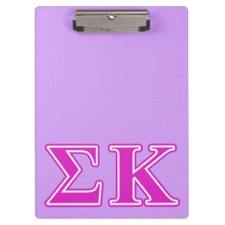 Sigma Kappa Pink Letters Clipboard