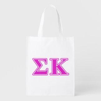Sigma Kappa Pink Letters Reusable Grocery Bag
