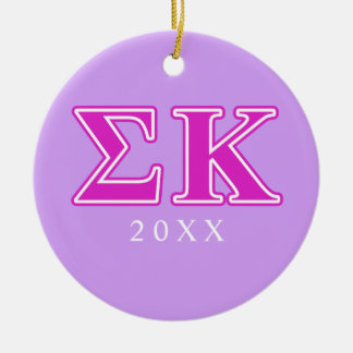 Sigma Kappa Pink Letters Round Ceramic Decoration