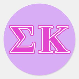 Sigma Kappa Pink Letters Round Sticker
