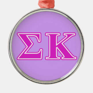 Sigma Kappa Pink Letters Silver-Colored Round Decoration