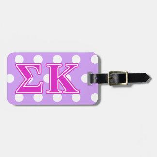 Sigma Kappa Pink Letters Travel Bag Tag