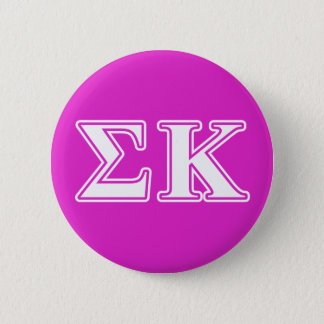Sigma Kappa White and Lavender Letters 6 Cm Round Badge
