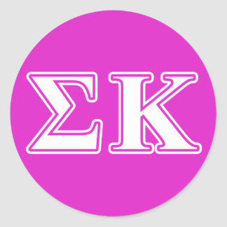 Sigma Kappa White and Lavender Letters Classic Round Sticker