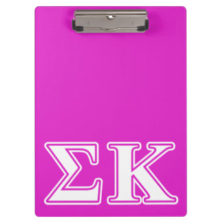 Sigma Kappa White and Lavender Letters Clipboard