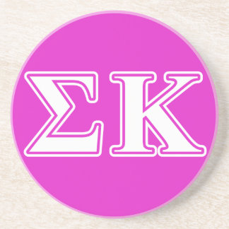 Sigma Kappa White and Lavender Letters Coaster