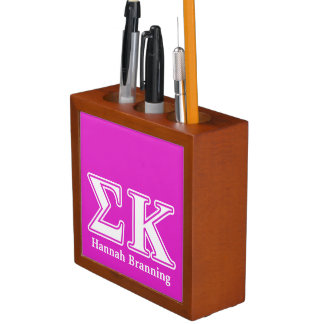 Sigma Kappa White and Lavender Letters Desk Organiser