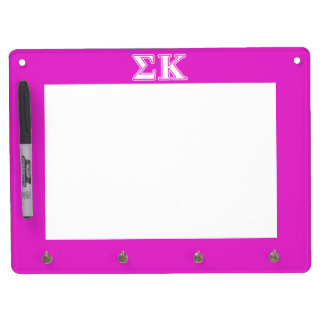 Sigma Kappa White and Lavender Letters Dry Erase Board With Key Ring Holder