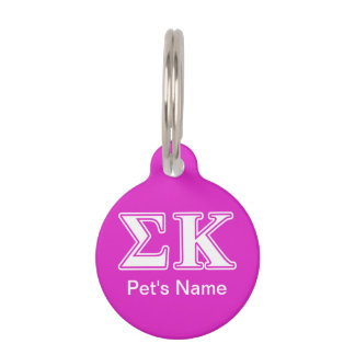 Sigma Kappa White and Lavender Letters Pet ID Tag