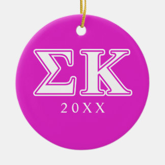 Sigma Kappa White and Lavender Letters Round Ceramic Decoration