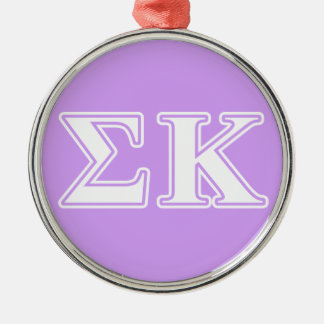 Sigma Kappa White and Pink Letters Christmas Ornament
