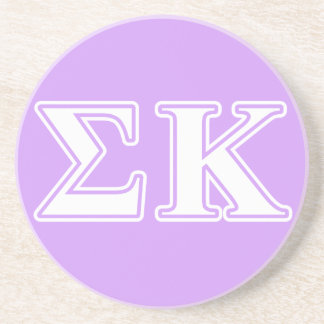 Sigma Kappa White and Pink Letters Coaster