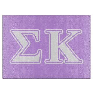 Sigma Kappa White and Pink Letters Cutting Board