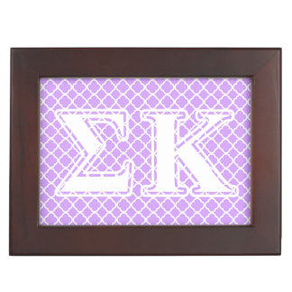 Sigma Kappa White and Pink Letters Memory Boxes