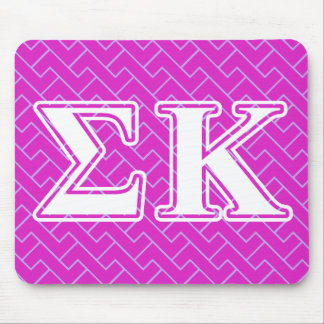 Sigma Kappa White and Pink Letters Mouse Pad