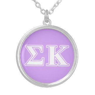 Sigma Kappa White and Pink Letters Round Pendant Necklace