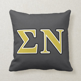 Sigma Nu Black and Gold Letters Cushion