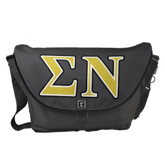Sigma Nu Black and Gold Letters Messenger Bags