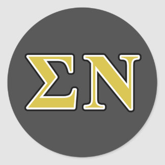 Sigma Nu Black and Gold Letters Round Sticker