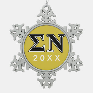 Sigma Nu Black Snowflake Pewter Christmas Ornament