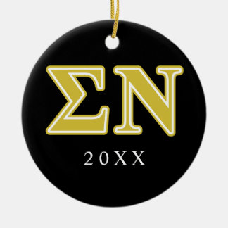 Sigma Nu Gold Letters Christmas Ornament