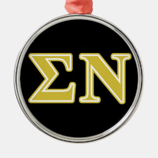 Sigma Nu Gold Letters Silver-Colored Round Decoration