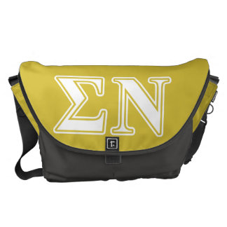 Sigma Nu White and Gold Letters Messenger Bags