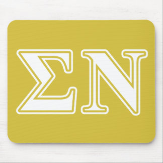 Sigma Nu White and Gold Letters Mouse Pad