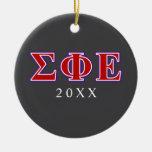 Sigma Phi Epsilon Purple and Red Letters Round Ceramic Decoration
