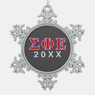 Sigma Phi Epsilon Purple and Red Letters Snowflake Pewter Christmas Ornament