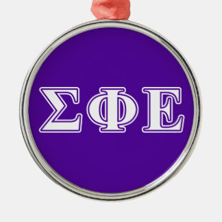 Sigma Phi Epsilon White and Purple Letters Christmas Ornament